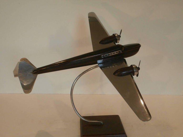 Art Deco Large Desk Model Airplane Chrome And Zebra Wood