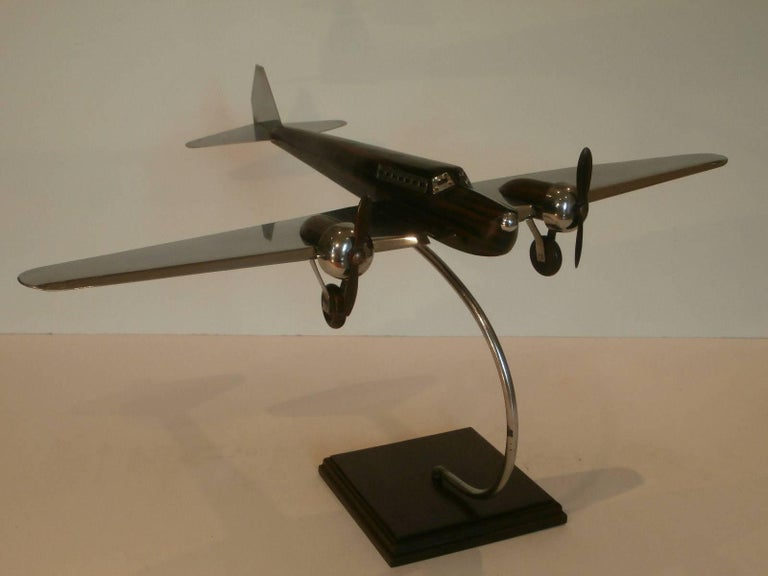 Art Deco Large Desk Model Airplane Chrome and Zebra Wood, France, 1930 In Good Condition For Sale In Buenos Aires, Olivos