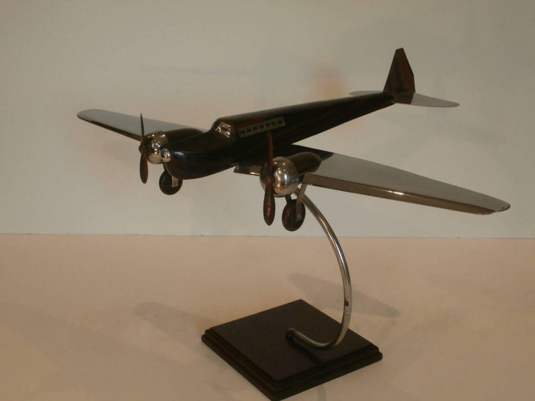 20th Century Art Deco Large Desk Model Airplane Chrome and Zebra Wood, France, 1930 For Sale