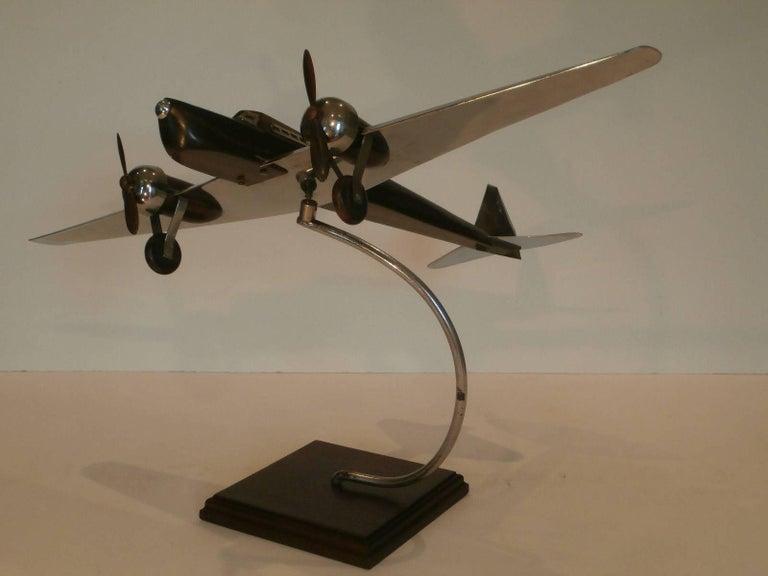 Art Deco Large Desk Model Airplane Chrome and Zebra Wood, France, 1930 For Sale 1
