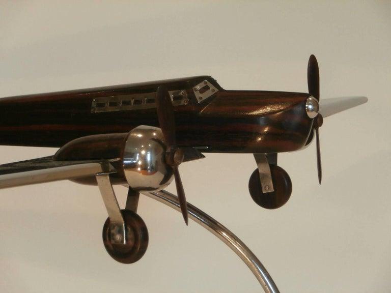 Art Deco Large Desk Model Airplane Chrome and Zebra Wood, France, 1930 For Sale 2