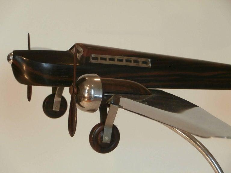 Art Deco Large Desk Model Airplane Chrome and Zebra Wood, France, 1930 For Sale 3