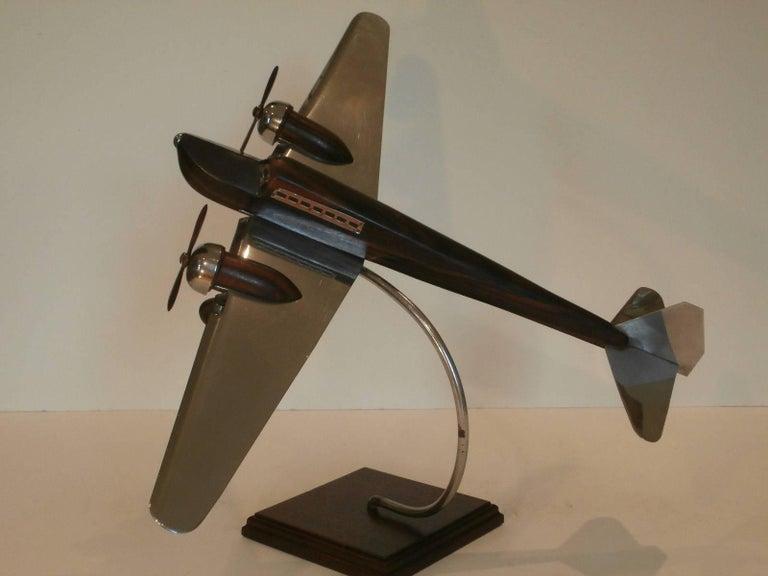 Art Deco Large Desk Model Airplane Chrome and Zebra Wood, France, 1930 For Sale 5