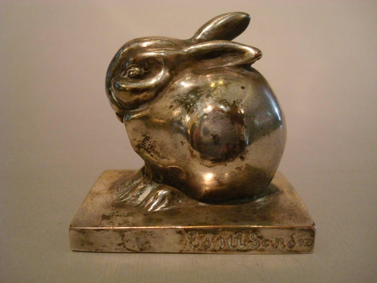 French Art Deco Edouard Marcel Sandoz Little Silvered Bronze Lapin, Rabbit, Signed For Sale