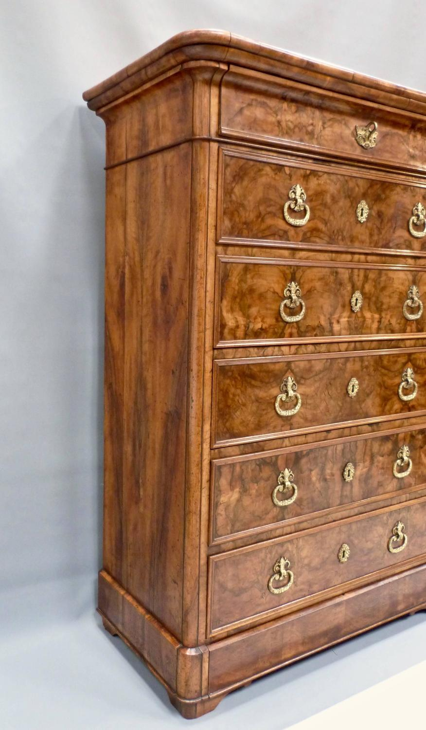 19th Century French Walnut Tall Chest Of Drawers For Sale