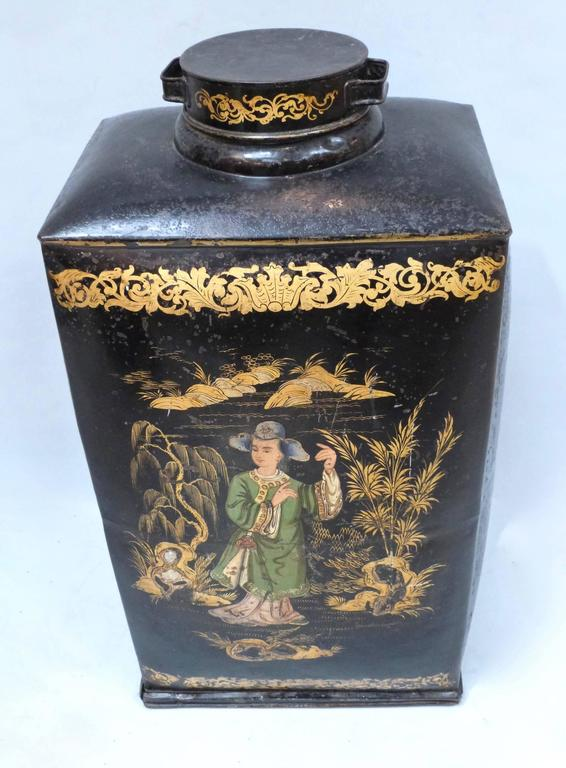 Pair of Large and Rare 19th Century Chinoiserie Tea Canisters 3