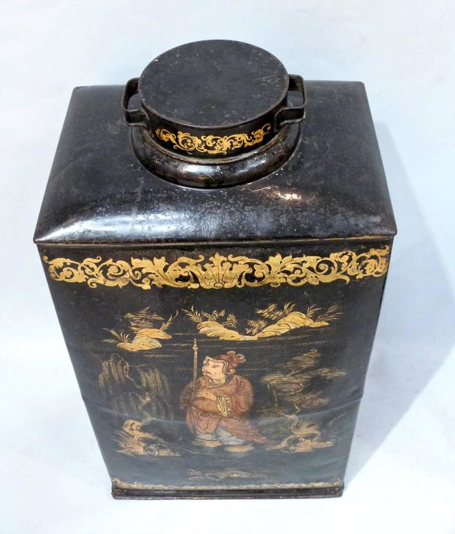 Pair of Large and Rare 19th Century Chinoiserie Tea Canisters 4