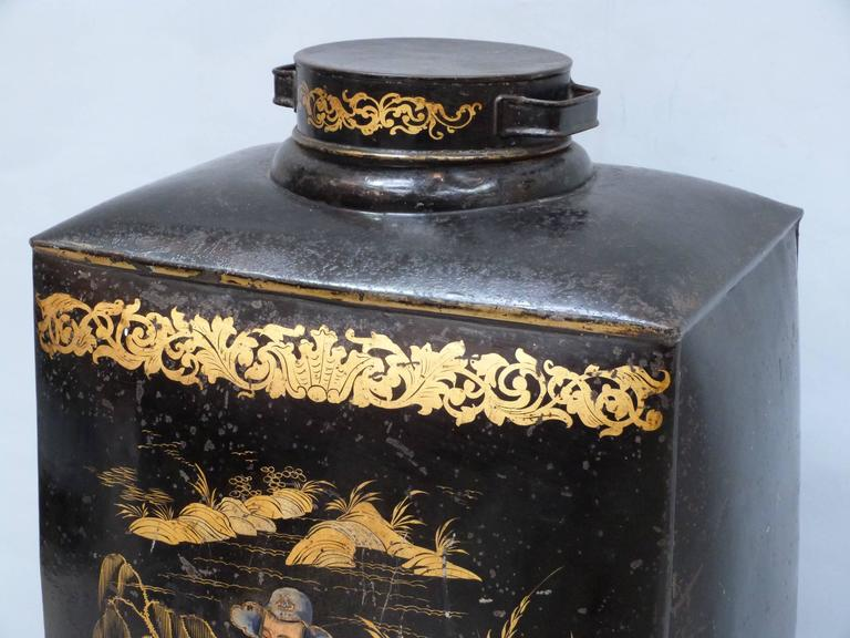 Pair of Large and Rare 19th Century Chinoiserie Tea Canisters 5