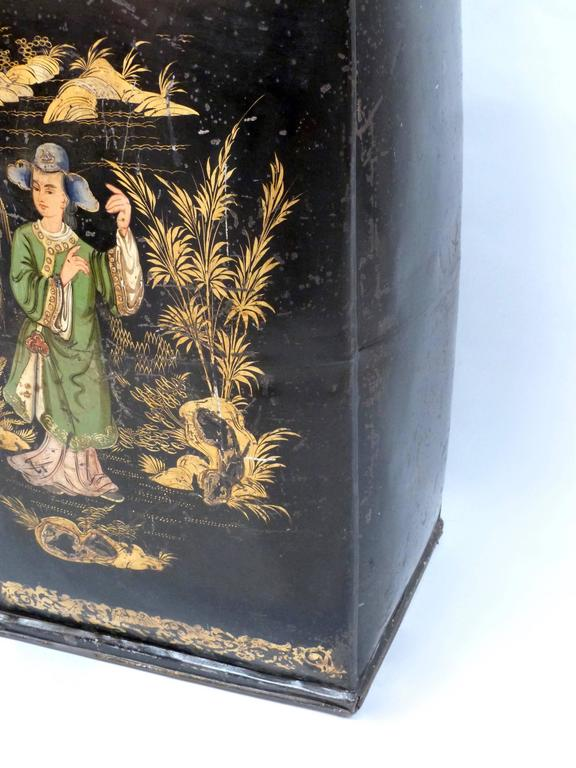Pair of Large and Rare 19th Century Chinoiserie Tea Canisters 6