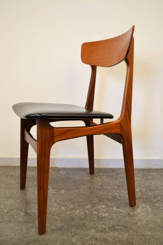Mid Century Modern Danish Teak Plywood Dining Chairs For