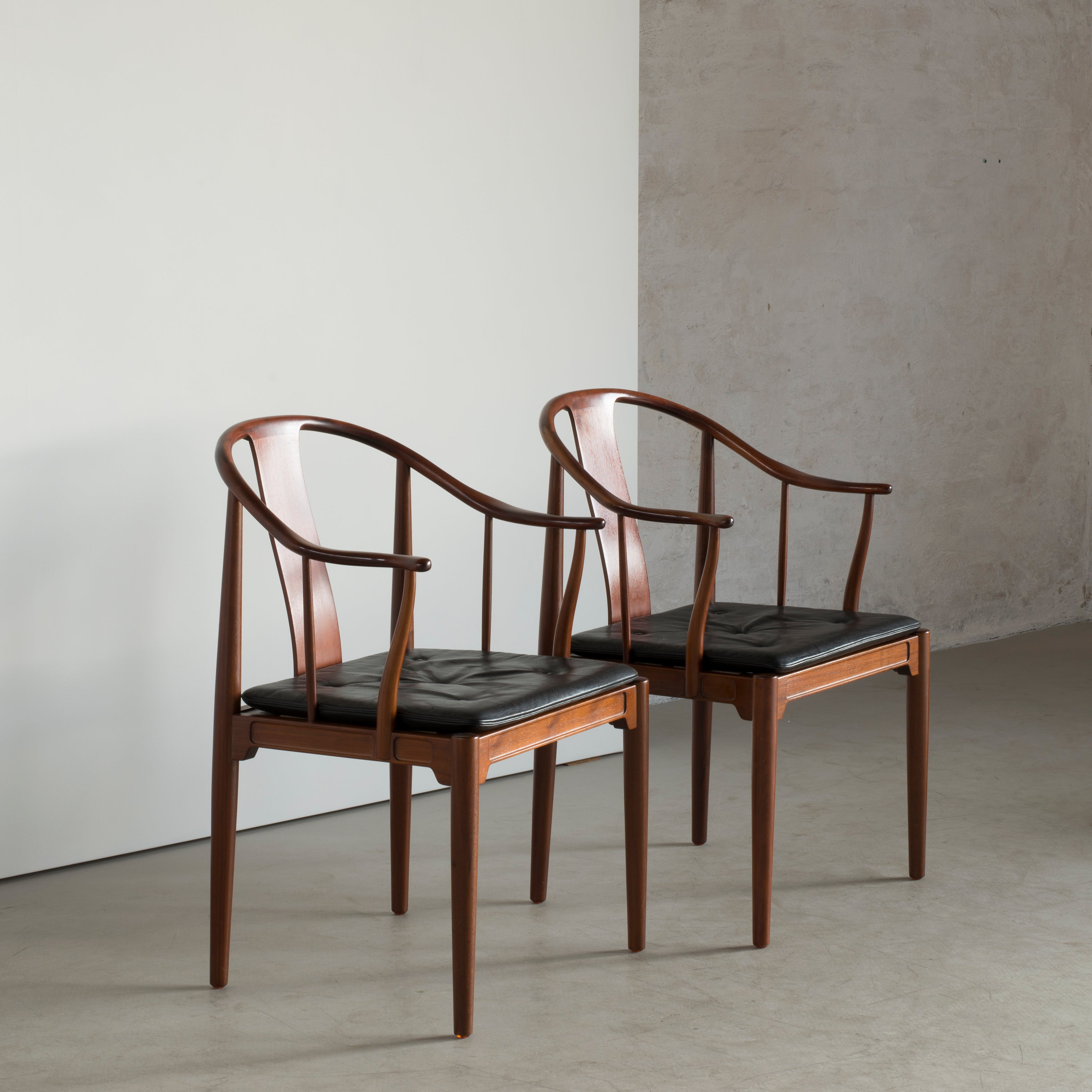 Pair Of Hans J Wegner Chinese Chairs In Walnut For