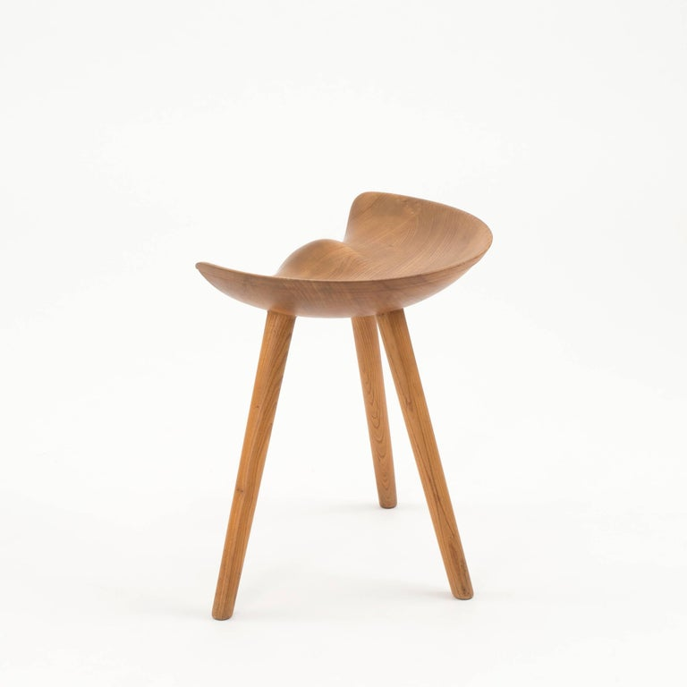 Scandinavian Modern Mogens Lassen Stool in Elm for K. Thomsen For Sale