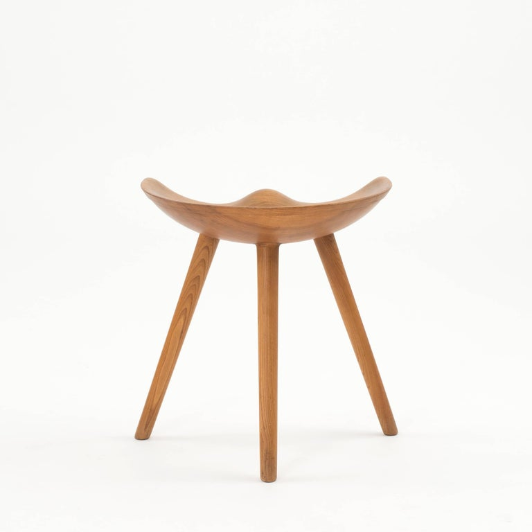 Mogens Lassen stool in Elm. Executed by K. Thomsen, Copenhagen, Denmark.