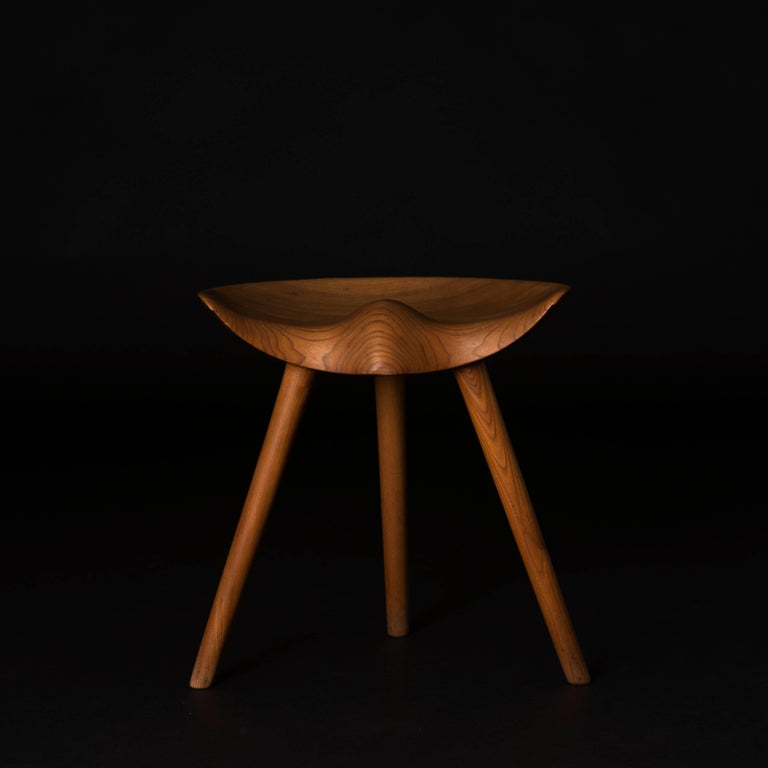 European Mogens Lassen Stool in Elm for K. Thomsen For Sale