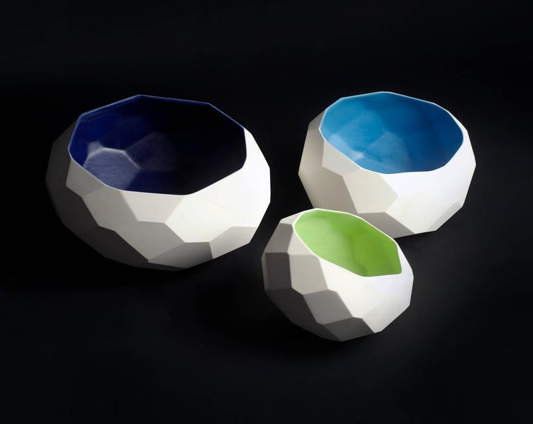Contemporary BOWL WALL SET  Faceted Ceramic Wall Installation Decoration For Sale