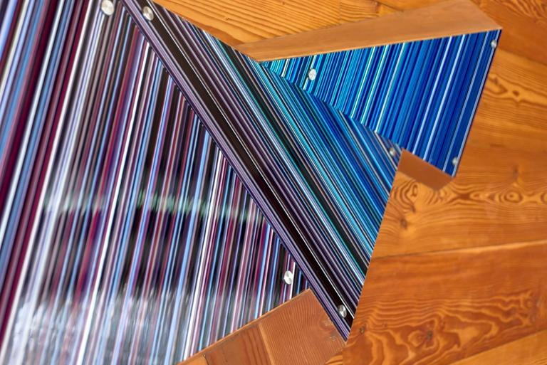 Glass stripped sculpture from the barcode collection by Orfeo Quagliata.  Sculpture lighting installation. The size depends on the customer's space. It may be for illumination or just as a wall sculpture installation. The colors and shape are