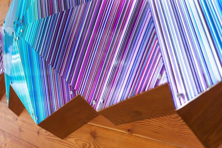 Modern Purple Blue Scheme 3D Faceted Glass Barcode Sculpture Wall Light Installation For Sale