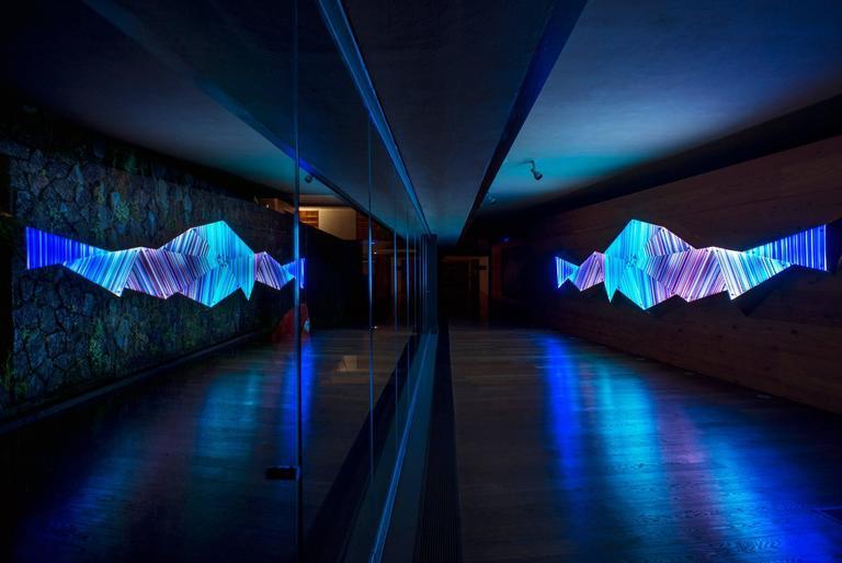 Mexican Purple Blue Scheme 3D Faceted Glass Barcode Sculpture Wall Light Installation For Sale