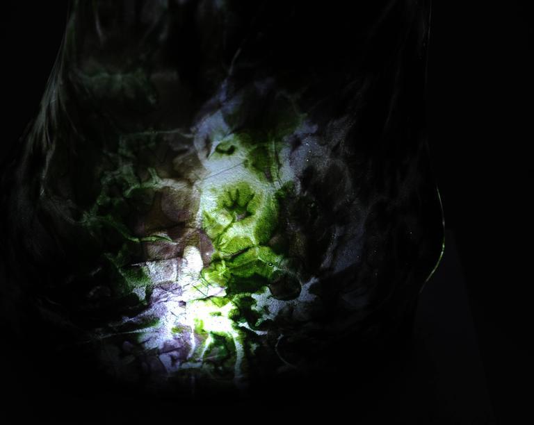Organic Modern Magikarpet Multicolor Green Hues Organic Glass Lamp w/White Marble Lighting Base For Sale