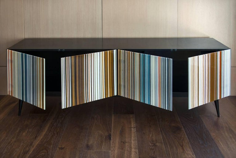 Mexican Barcode Colored Glass Retro Style Buff-Heyyy Credenza  For Sale