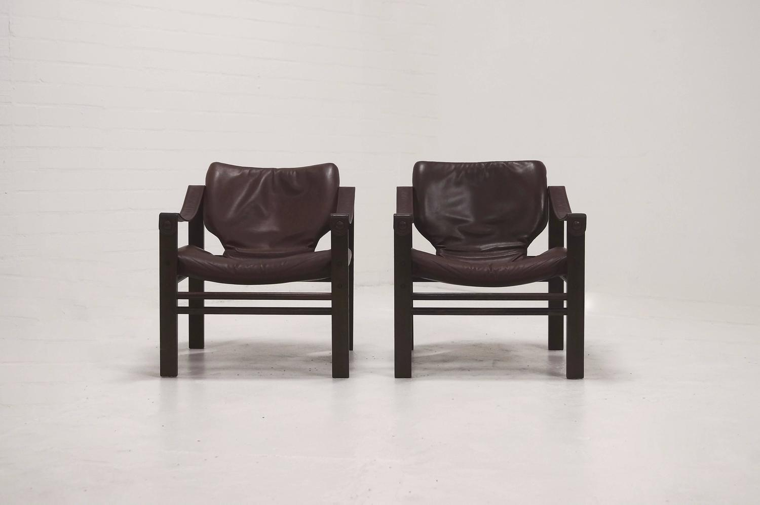 Pair Of Safari Chair Lounge Chairs By Maurice Burke For