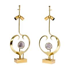 Pair of Lamps by Willy Daro Brass and Amethyst
