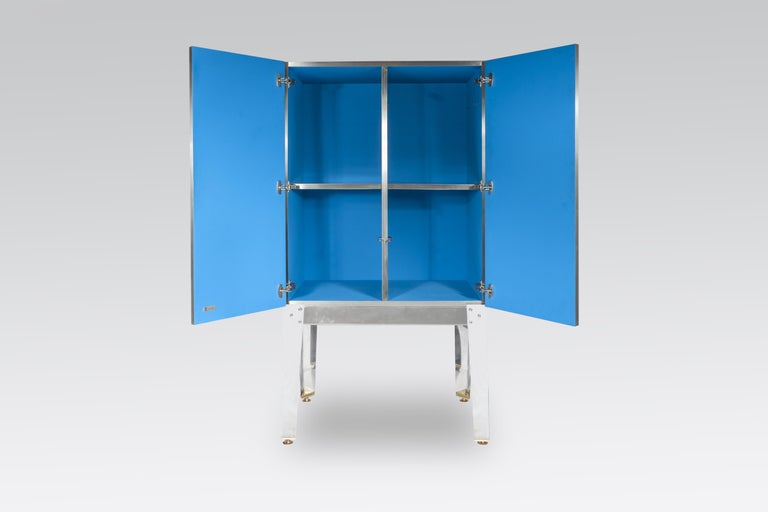 Contemporary Cabinet by Stan Usel in Mosaic Stainless Steel and Blue Agate For Sale