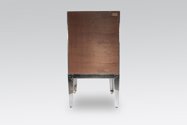 Cabinet by Stan Usel in Mosaic Stainless Steel and Blue Agate For Sale 1