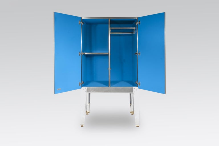 Brass Cabinet by Stan Usel in Mosaic Stainless Steel and Blue Agate For Sale