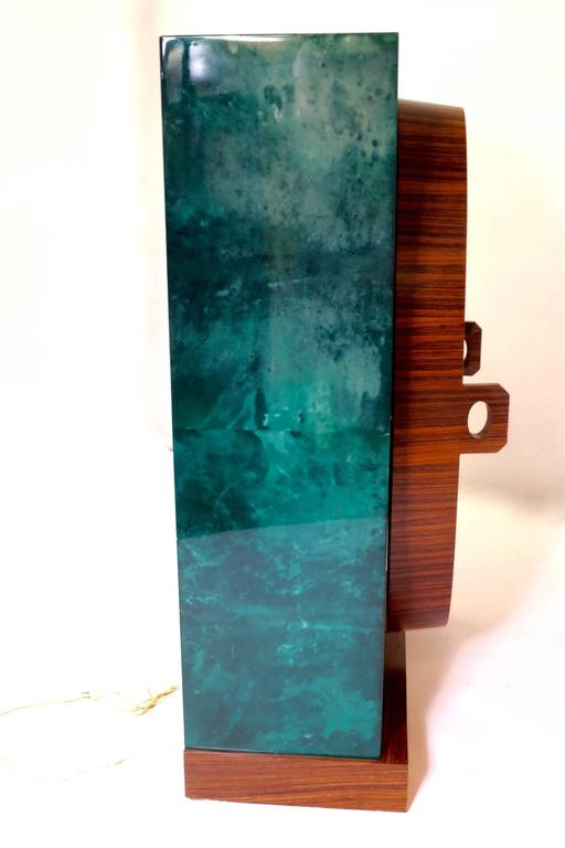 Mid-Century Modern Aldo Tura Bar in Green Goatskin For Sale