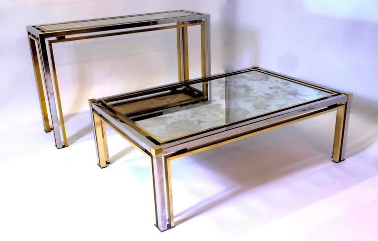 Brass Coffee Table by Rome Rega For Sale