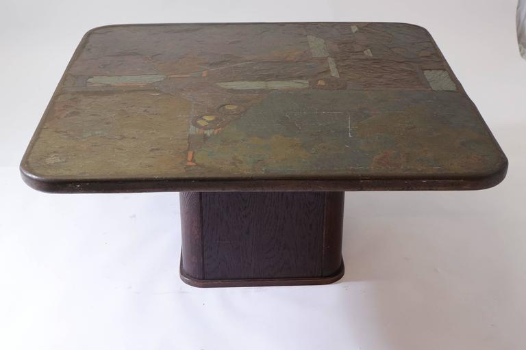 Square coffee table designed and made by Marcus Kingma. Marcus was the brother of Paul Kingma who started making these tables in the 1960s. Marcus helped Paul making table at the end of his career and eventually started making tables on his own. The