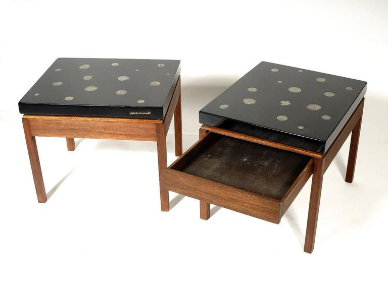 Pair of side tables by Etienne Allemeersch in black resin inlay Marchasite, with draws circa 1980.