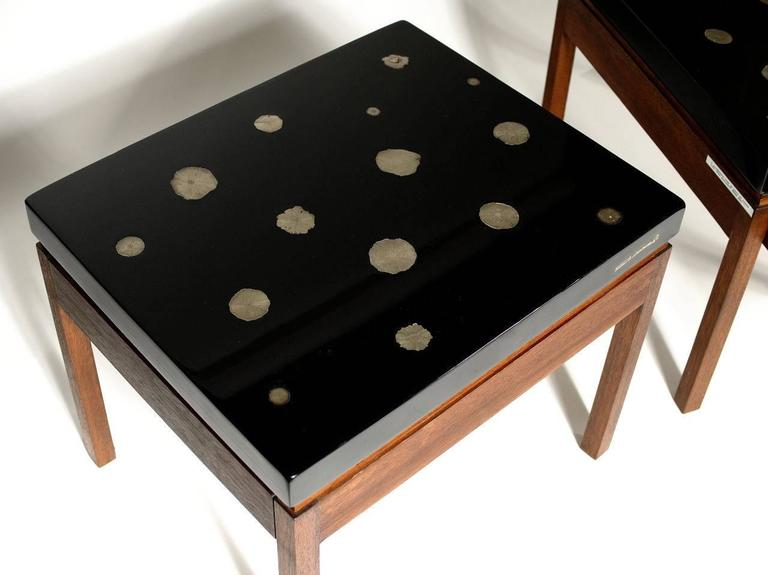 Mid-Century Modern Pair of Side Tables by E. Allemeersch Black Resin and Marchasite For Sale