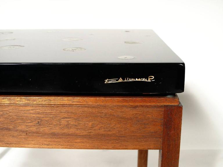Inlay Pair of Side Tables by E. Allemeersch Black Resin and Marchasite For Sale