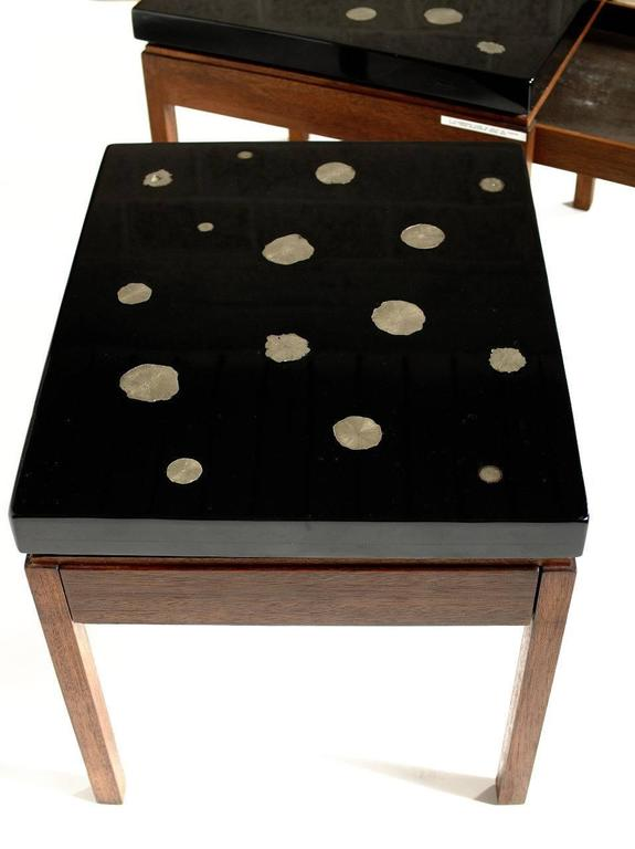 Pair of Side Tables by E. Allemeersch Black Resin and Marchasite In Excellent Condition For Sale In Brussels, BE