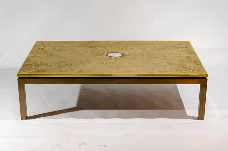 Etched brass coffee table inlay agate by ADS, Belgium, circa 1970, we have also the pair of side table, perfect condition, new polish and new varnish. Signed ADS.