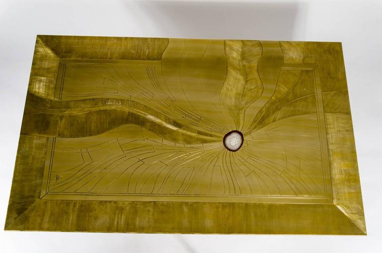 Etched brass coffee table inlay Agate by Jonasz, circa 1970, signed by the artist, new polish and varnish, perfect condition.