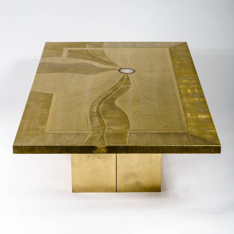 Belgian Etched Brass Coffee Table Inlay Agate by Jonasz, circa 1970 For Sale