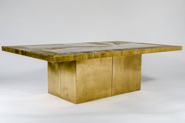 Etched Brass Coffee Table Inlay Agate by Jonasz, circa 1970 In Excellent Condition For Sale In Brussels, BE