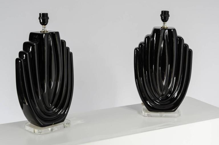 Pair of ceramics and Lucite lamps, circa 1980s, dimensions are without the shades.
