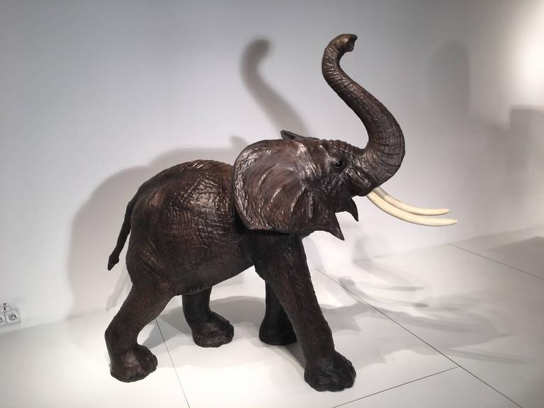 Mid-Century Modern Amazing and Very Rare Elephant in Leather, circa 1960 For Sale