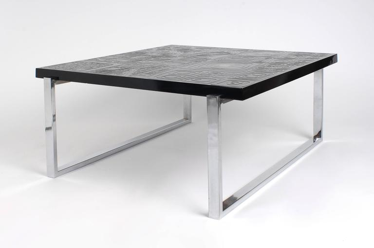 Square coffee table in black resin inlay Agate, feed in steel, in perfect condition, Belgium, 1980.