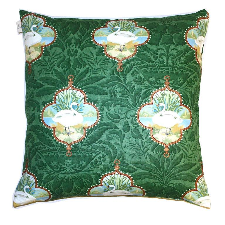 Swan Queen Vintage Fabric Green Handprinted Linen Large Floor Cushion at 1stdibs