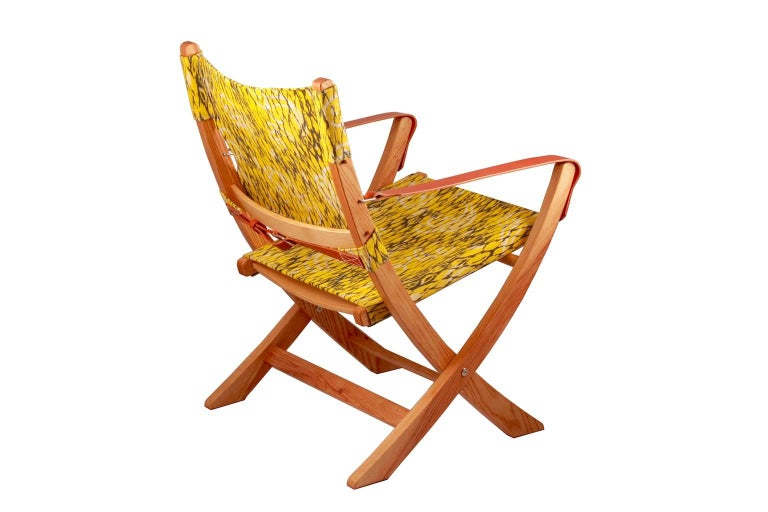 Campaign Chair Vintage Retro Fabric Yellow Leather Arm