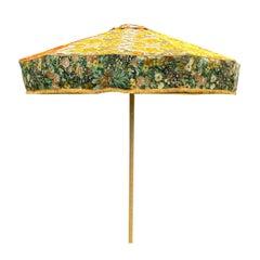 Vibrant Brand New Designer Vintage Fabric Sun Umbrella Yellow Orange Gold Floral