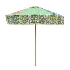 Designer Sun Umbrella Patio Parasol in Floral Geometric Vintage Fabrics Maximal