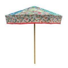 Sunbeam Jackie Designer Sun Umbrella Patio Parasol Vintage Textiles Floral Blues