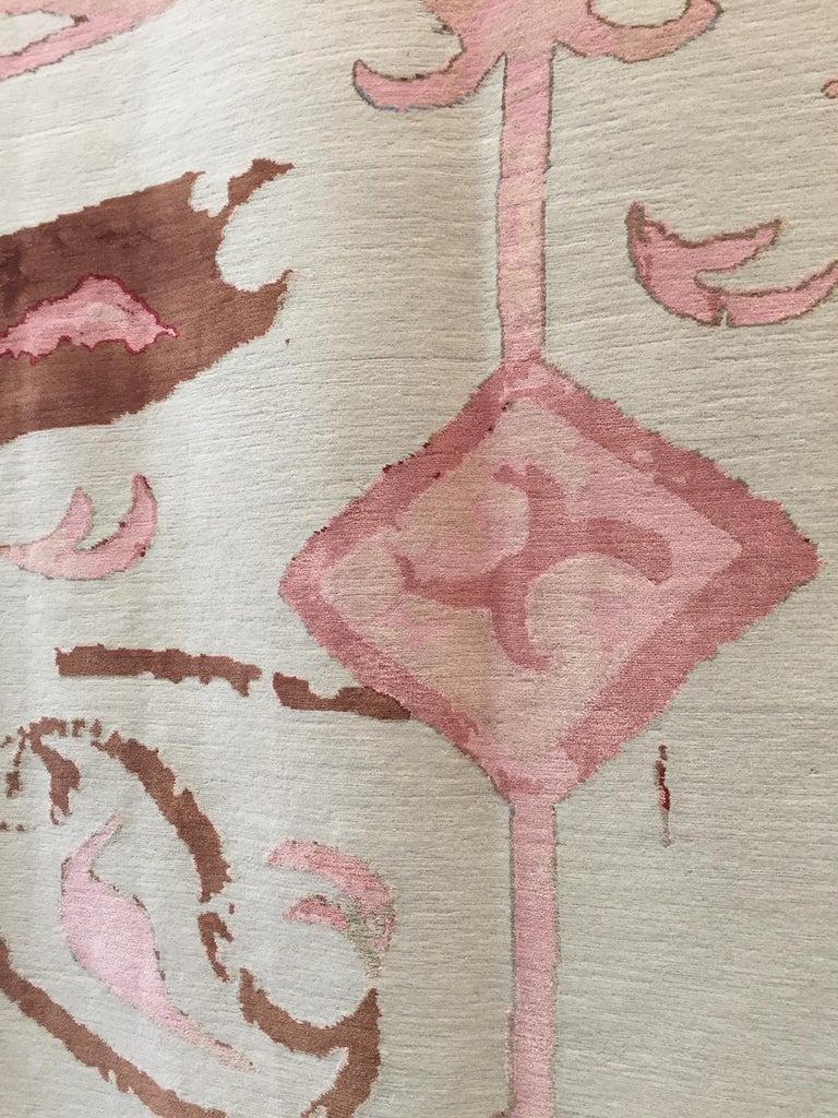 Contemporary Kaitag Design Rug in Wool and Silk by Amir Aligorgi For Sale
