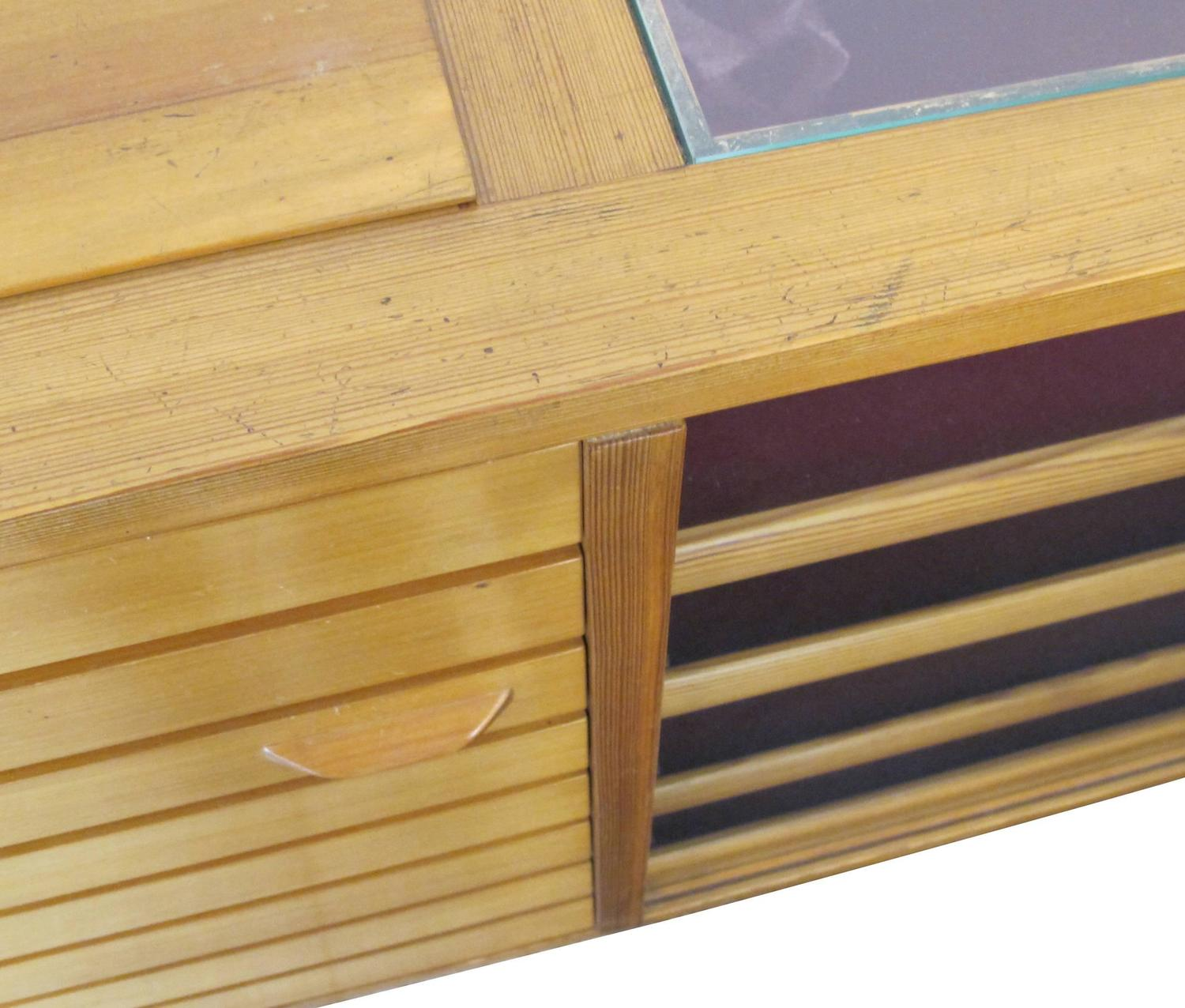 Unique Vintage Wooden Sideboard And Display Case 1960s At